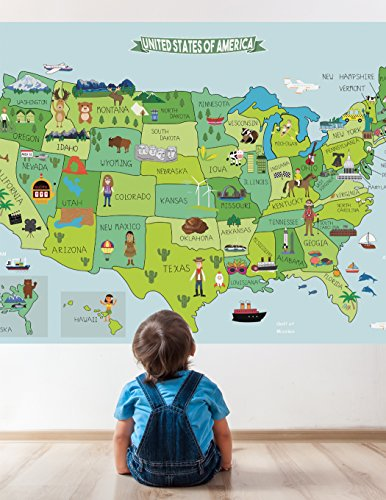 Map of United States Fabric Sticker, Peel and Stick Removabl