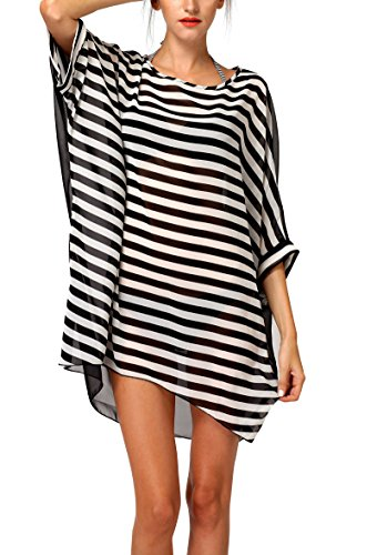 Womens Striped Chiffon Swimwear Oversized