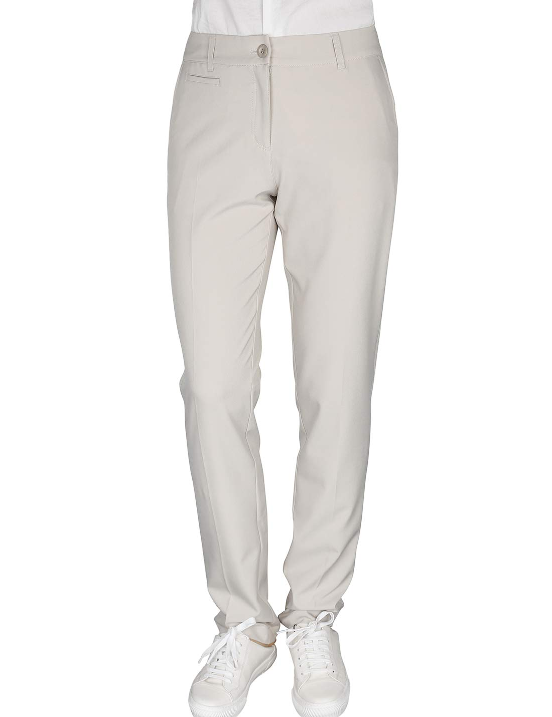 Women's Golf Pants Stretch Straight Lightweight Breathable Twill Work Chino Ladies Pants Size 10 Beige by Bakery