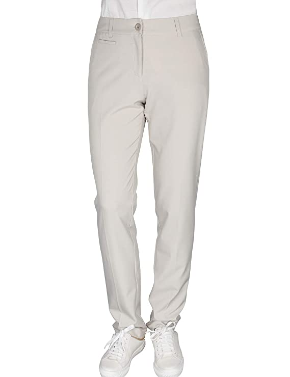 Women's Golf Pants Stretch Straight Lightweight Breathable Twill Work Chino Ladies Pants Size 10 Beige best women's golf pants