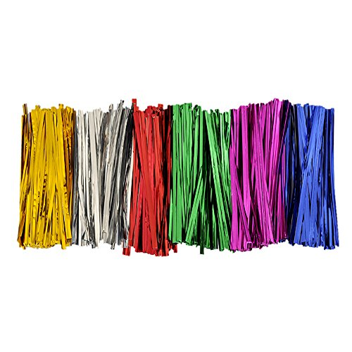 BWS 300 Metallic Twist Ties - 50 Each 6 Colors Red Silver Gold Pink Blue Green Craft Favors Garden Bread Treat Bags (1)