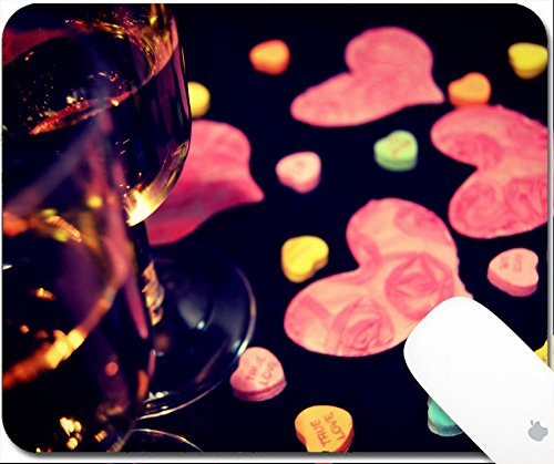 Luxlady Natural Rubber Gaming Mousepads Sweetheart candy and champagne 9.25in X 7.25in IMAGE: (Pink Sweetheart Glasses)
