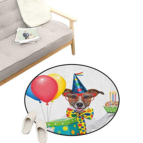 Kids Birthday Round Rug ,Waiter Server Party Dog with Hat Cone Cupcake Balloons Celebration Boxes, Art Deco Non-Slip Backing Machine Washable 47