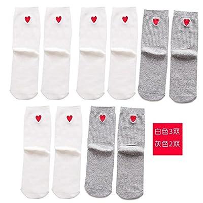 Maivasyy 3 paires de chaussettes Printemps et automne Pile mince Heap Chaussettes Femme Chaussettes coton brodé Tube amour blanc, gris 3 2
