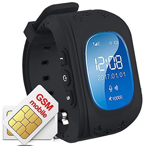 TKSTAR GPS/GSM Tracker Watch for Kids Children Smart Anti-Lost Wrist Watch Bracelet Pedometer Sleep Tracker App for All Smartphone GSM Track Without Sim Card Q50 (Black)
