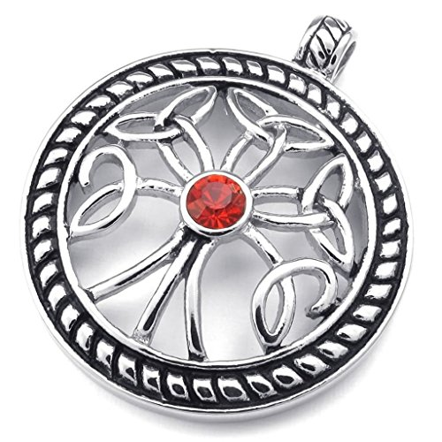 Celtic Zirconia - Stainless Steel Necklaces, Men's Pendant Necklace Celtic Knot Tree Of Life Cubic Zirconia 18-26 Inch