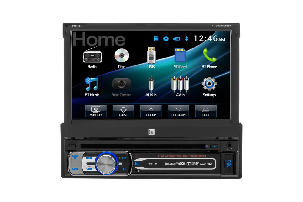 Dual Electronics DV516BT Multimedia Detachable 7 inch Touchscreen Single DIN Car Stereo with Built-In Bluetooth, CD/DVD, MP3 & microSD Card Players by Dual Electronics