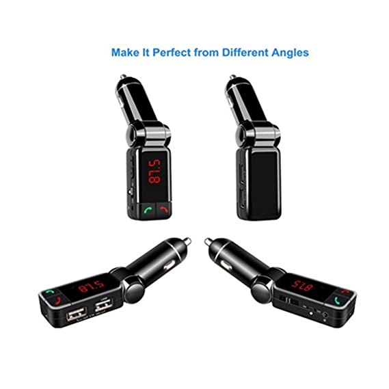 Amazon.com: KAZOKU 5-in-1 In-Car FM Transmitter Bluetooth Wireless Adapter with Dual USB Charging, Music Control, Card Reading and Hands-Free Calling: Cell ...
