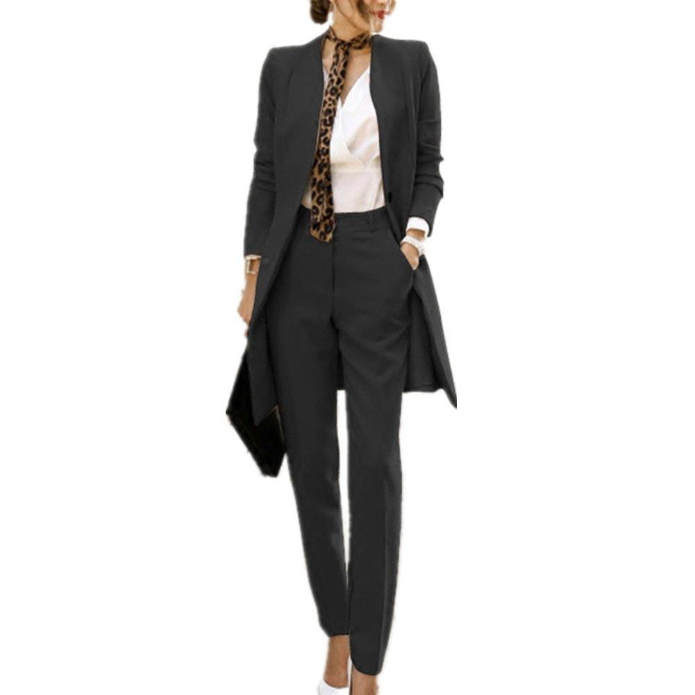 Black Women's 2 Piece Business Mid Long Blazer and Pants Suit Set with Belt