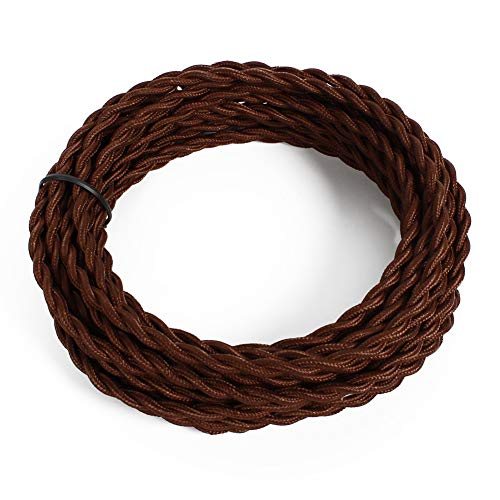 - 25ft Fabric Cloth Covered Lamp Twisted Wire,PRUNLLA Vintage 18/2 Industrial Electrical Cord,18-Gauge Antique Style for Retro Lamp,DIY Projects (Brown)