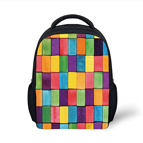 iPrint Kids School Backpack Abstract Home Decor,Colorful Blocks Abstract Cube Shapes Entertaining Vibrant Colors Creativity Decorative, Plain Bookbag Travel Daypack