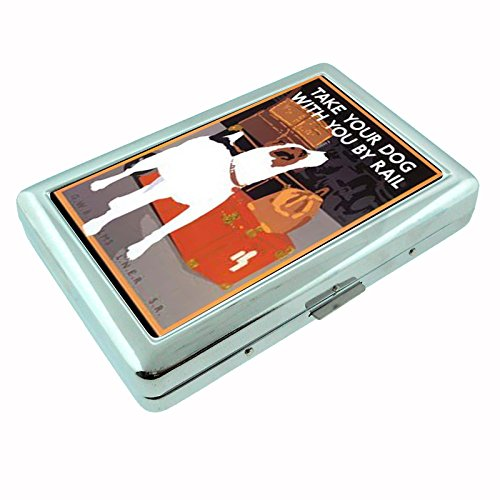 sw-029 Art Deco Train Ad Image Dog Jack Russell Business Card Id Wallet Cigarette Case Ad Train