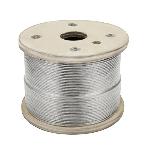 Happybuy Stainless Steel Cable 500ft 1/8 1x19 Steel Cable Wire Rope Grade 316 Cable Railing ()