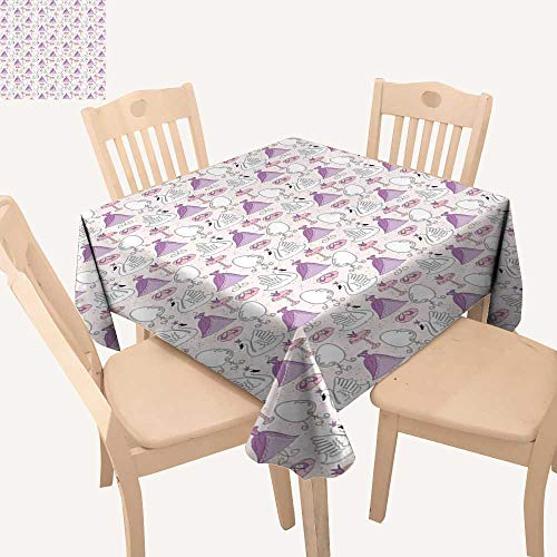 Swan Square Tablecloth Princess Dress Gown Magic Shoes Mirror and Cute Swans with Tiaras Pattern Kitchen Table Cover W 36