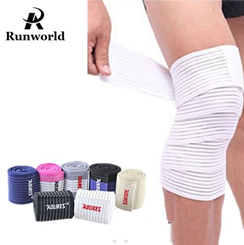 Runworld (1 Pair) Elastic Breathable Knee Brace Compression Bandage Wraps Pain Relief Straps Support Wraps Sleeve for Men Women Cross Training WODs,Gym Workout,Fitness & Powerlifting (White)