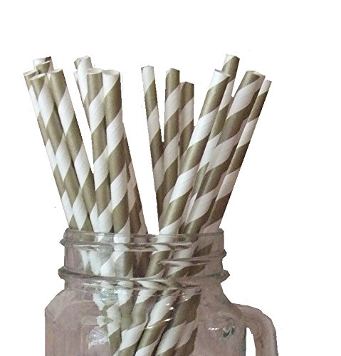 Just Sip It Biodegradable Vintage Paper Drinking Straws, Gold Striped, Pack of 50 (Straw Cute)