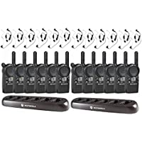 Motorola CLS1410 Two Way Radio 12-Pack with 12 Surveillance Earpieces and 2 Bank Chargers