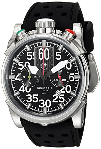 CT-Scuderia-Mens-Saturno-Swiss-Quartz-Stainless-Steel-and-Silicone-Casual-Watch-ColorBlack-Model-CS10128