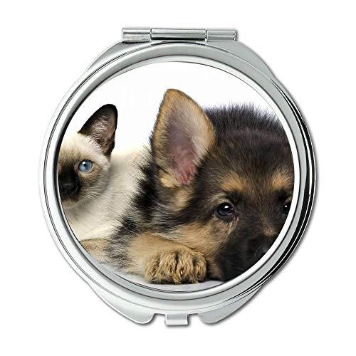 Mirror,Round Mirror,Terrier Yorkie Dog cute dog,pocket mirror,1 X 2X -