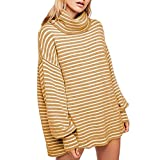 Women Plus Size Sweaters Turtleneck Long Sleeve Stripe Tops Sweater Mini Dress Blouse (US:16, Orange)