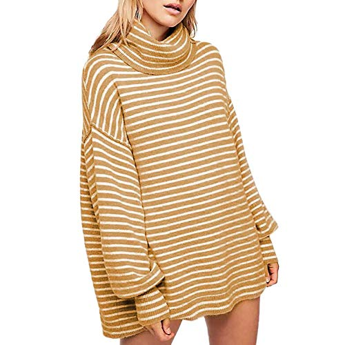 Spbamboo Womens Sweater 2018 Plus Size Turtleneck Long Sleeve Stripe Tops Blouse by Spbamboo