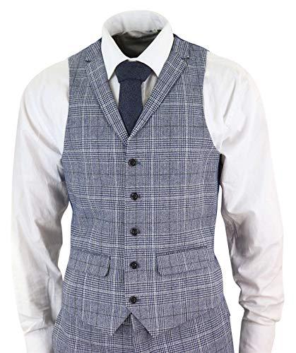 3 Galles Carreaux Slim Gris Tweed gris De Années Costume Homme 20 Pièces Style Bleu Coupe Blinders Peaky Prince Bleu tx01wHBYq