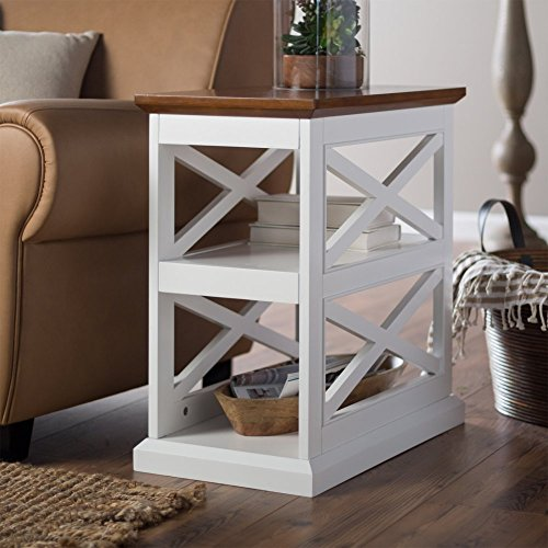 (Belham Living Hampton Chair Side Table - White/Oak )