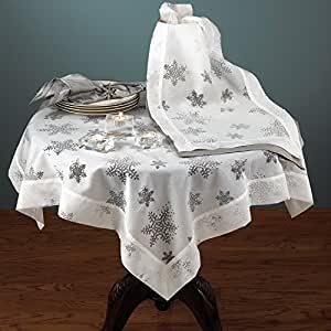 Holiday Burnout Voile Evening Snowflake Design White Tablecloth - 80 Inch Square - New