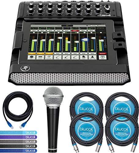 (Mackie DL1608 Digital Mixer Compatible with iPad, 16-Channel Bundle with 2 Blucoil 10-FT Balanced XLR Cables and 14-FT 1 Gbps Cat5e Cable )