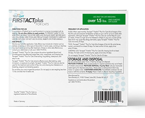 TevraPet-FirstAct-Plus-Flea-and-Tick-Topical-for-Cats-over-15lbs-3-Dose-Flea-and-Tick-Prevention-Waterproof-Flea-and-Tick-Control-for-3-Months