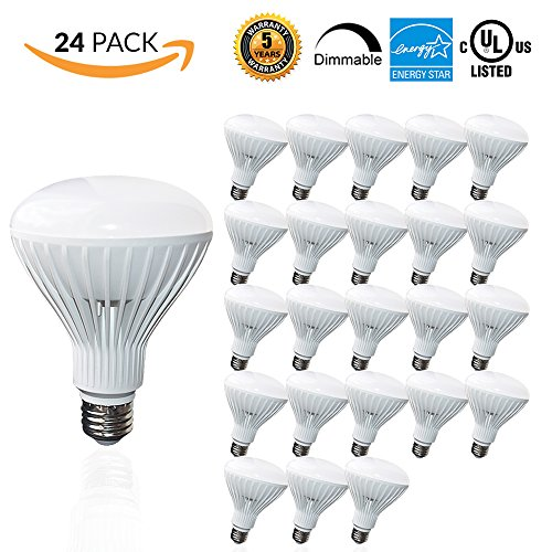 ood Bulb, 65W Replacement - 10 Watt - 650 Lumens - 5000K Daylight - Indoor/Outdoor Rated - UL & Energy Star, 24-Pack (Br30 Halogen Light Bulb)