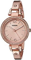 Fossil Women's ES3226 Georgia Glitz Three Hand Stainless Steel Watch - Rose Gold-Tone