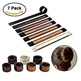 Sheevol Beauty Donut Bun Maker, Hair Bun Making Styling, Fashion Hair Styling Disk, Hair Band Accessory, DIY Hair Styling Tool for Women Girls, 7 Pack (7 colors)