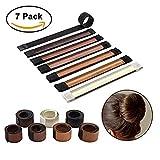 Sheevol Beauty Donut Bun Maker, Hair Bun Making Styling, Fashion Hair Styling Disk, Hair Band Accessory, DIY Hair Styling Tool for Women Girls, 7 Pack (7 colors)
