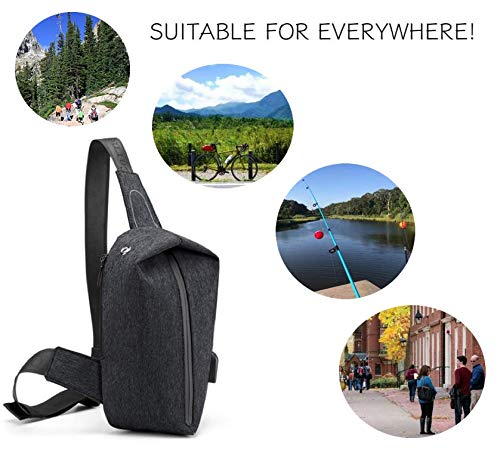 Sling Backpack with USB Charging Port Waterproof for Men Bike Hiking Small