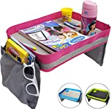 Kids Travel Tray - Car Seat Lap Tray for Children & Toddlers - Perfect Activity Snack & Play Tray for Short Road Trips or Long Journeys - Pink