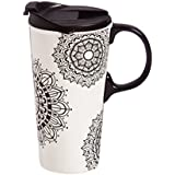 Cypress Home 129100 Ceramic Travel Cup, 17 Ounce, Black and White
