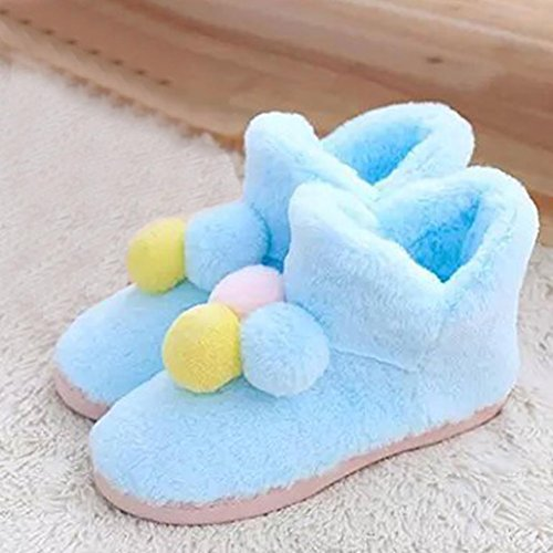 Elevin(TM)Pregnant Women Home Slippers Hairball Winter Autumn Warm Shoes Yoga Shoes Blue MZHaSZ1