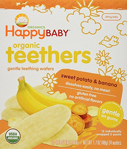 (Happy Baby Gentle Teethers Organic Teething Wafers Banana Sweet Potato, 0.14 Ounce Packets (Box of 12) Soothing Rice Cookies for Teething Babies Dissolves Easily Gluten Free No Artificial Flavor)