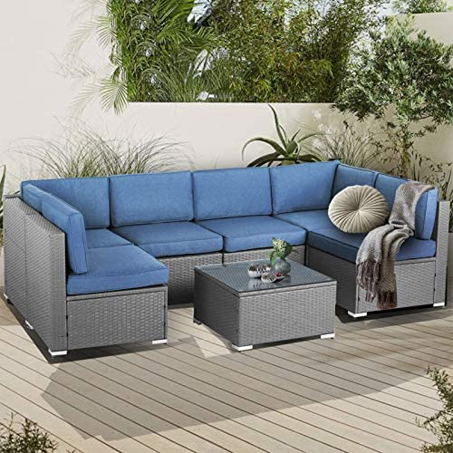 SUNCROWN Outdoor Patio Furniture 7-Piece Sofa Set Grey Wicker