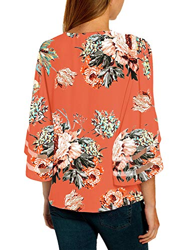LookbookStore Women's V Neck Mesh Panel Blouse 3/4 Bell Sleeve Loose Top Shirt 2
