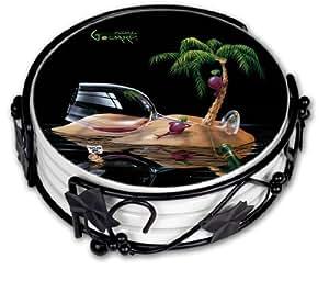 "Art Plates ""Michael Godard Lost in Paridise ""Drink Coaster Set"