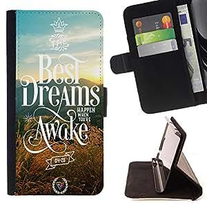 - Best Dreams Awake - - Monedero PU titular de la tarjeta de cr?dito de cuero cubierta de la caja de la bolsa FOR LG G2 D800 Retro Candy