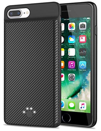 Emishine iPhone 8 Plus/7 Plus Battery Case, High Capacity 4000mAh Ultra Slim External Battery Case for iPhone 8 Plus/7 Plus/6 Plus/6S Plus,Extra 100% Battery Life(5.5-Black)