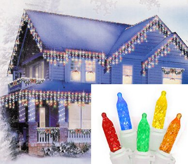 Set of 70 Multi-Color LED M5 Icicle Christmas Lights - White Wire