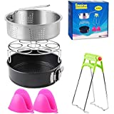 Instant Pot Accessories Set Fits 5,6,8Qt Instant Pot Pressure Cooker 5 Pcs with Steamer Basket, Egg Steamer Rack, Non-Stick Springform Pan, Steaming Stand, 1 Pair Silicone Cooking Pot Mitts