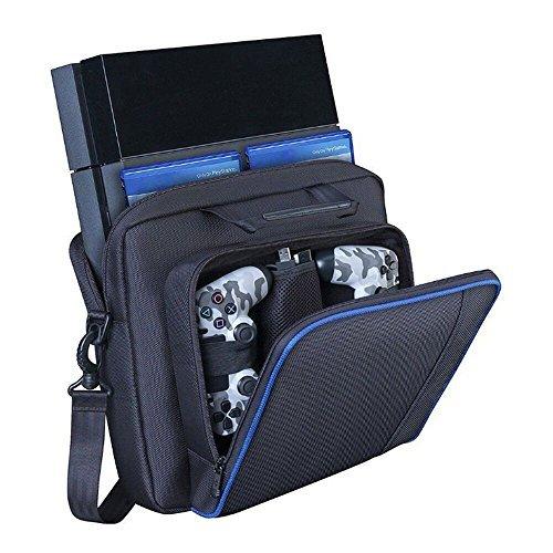 プレイステーションキャリーケース、頑丈なポータブルナイロンタフタ旅行ショルダーバッグ ビデオガメコンソールバッグ PS4、PS4スリム、PS4 Pro #81050用 ブラック