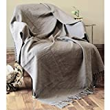 RAJRANG Primitive Rustic Farmhouse Throw Blanket - 100% Pure Cotton Tassel Reversible Charcoal Gray Woven Soft Patio Decorative Comfy Blanket 127 x 152 cms