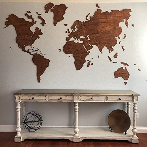 Wood World Map Large Red Blank World Map Travel map Wall Rustic Home Decor Office Decor Wall Decor Dorm Living Room Interior Design Fathers Day Gift L size - 150x90 cm (59x35