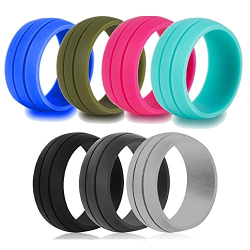 LOYOFO Silicone Wedding Rings Wedding Bands Men 7 Pack-Size 6 by LOYOFO